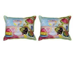 Pair of Betsy Drake `Wine and Cheese` Indoor/Outdoor Pillows 16 In. X 20 In.