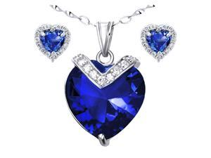 "Mabella Charming Heart Cut Created Blue Sapphire Pendant & Earring Set - Sterling Silver, 18"" Chain"