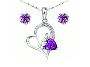 "Mabella Heart Cut Created Amethyst Pendant & Earring Set in Sterling Silver with 18"" Chain"
