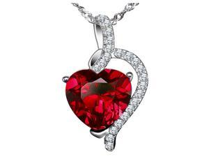 """Mabella PWS004CR 4.10 cttw Heart Shaped 10mm x 10mm Created Ruby Pendant in Sterling Silver w/ 18"""" Chain"""