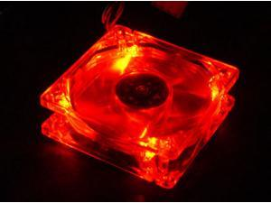 Red Quad 4-LED Light Neon Quite Clear 80mm PC Computer Case Cooling Fan Mod