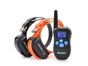 Petrainer 330 Yards Remote 2 Dog Shock Training Collar Waterproof and Rechargeable E-collar with Beep / Vibration / Shock Electric Collar