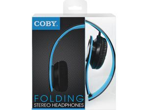 Coby CVH-801-BLU Folding Stereo Headphones, Blue