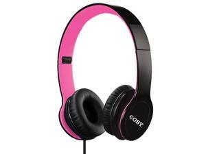 Coby Folding Stereo Headphones, Pink (CVH-801-PNK)