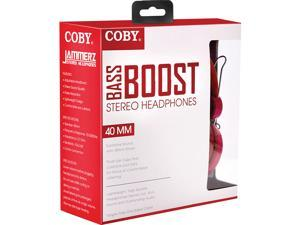 Coby Bass Boost Stereo Over Ear Headphones with Built-In Mic -Red
