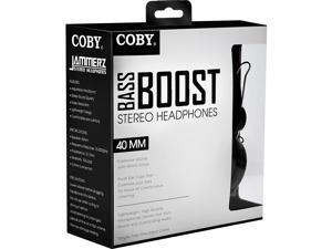 Coby Bass Boost Stereo Over Ear Headphones with Built-In Mic - Black