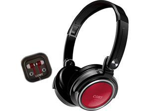 Coby CVH-800-RED 2-In-1 Jammerz Xtra Headphones and Earbuds with Case (Red)