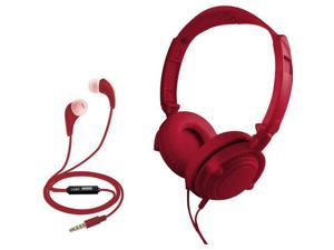 Coby CVH-807-RED 2 in 1 Headphones & Earbuds with Built-In Mic (Red)