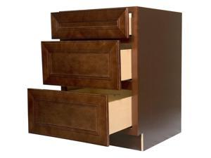 """24 Inch Bathroom Vanity Base Cabinet in Leo Saddle (Dark Cherry Wood) with Soft Close Drawers 24"""""""
