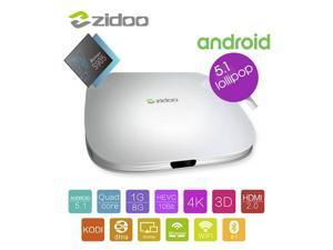 Zidoo X5 Amlogic S905 Cortex A53 Quad-core 2.0GHz, 64-bit,1G+8G, Support H.265, 4k*2k, H.265 Hardware Decoding 10-bit HEVC HDMI 2.0, Android 5.1 Lollipop, Kodi, Smart TV Box (Domestic Fast Shipping)