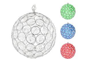 Hoont Outdoor Hanging Decorative Sparkling Crystals Gazing Ball with Solar Powered Color Changing LED Light - 6 Inch Diameter