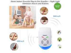 Hoont Indoor Powerful Plug-in Pest Repeller + Night Light - Eliminates Insects and Rodents [UPGRADED VERSION]