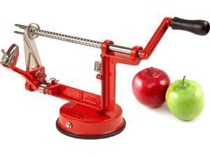 Kitchen Basics Heavy Duty Quick Apple Peeler, Slicer & Corer - Professional Grade (Red)