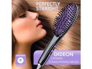 Gideon Heated Hair Brush Straightener - Amazing and Innovative Hair Straightener / Achieve Salon Quality Straight Hair in Minutes [UPGRADED VERSION]