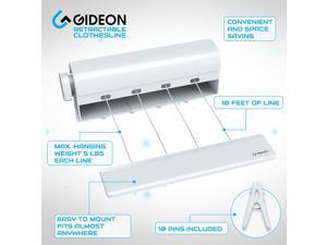 Gideon Indoor 4-Line Retractable Clothesline - Clothes Dryer with 4 Bonus Hanging Hooks - Instantly Adds 40 Feet of Drying Space - Includes 10 Free Clothespins