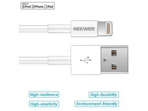 [Apple MFi Certified]Neewer 3.3 Feet/1 M Data USB Sync & Charging Lightning 8 Pin Cable for iPhone 6S/6S Plus/6/6Plus/5/5S/5C,iPad 4,iPad Air 1/2,iPad Mini 1/2/3,iPod touch 5 and iPod nano 7(White)