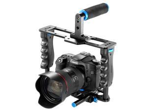 Neewer Pro(Pro Version of NeewerProduct)Aluminum Camera Video Cage Kit with (1)Video Cage(1)Top Handle Grip(2)15mm Rod for Canon 5D mark II and Other SLR DSLR Camera Professional Photograph