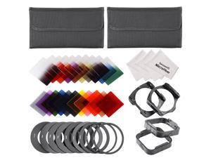Neewer Square Full & Graduated Lens Filter Kit for Cokin P Series: (16)Full & Graduated Color Filters+(3)Full ND Filters+(3)Graduated ND Filters+(9)Adapter Rings+(2)Filter Holders+(2)Lens Hoods