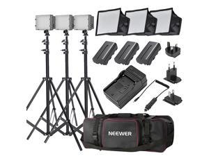 Neewer CN-160 Ultra High Power Panel Dimmable LED Video Light Kit with Large Deluxe Bag to Carry All Lights& Accessories for Canon, Nikon, Sony and Other Digital SLR Cameras