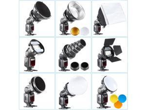 Neewer Speedlite Flash Accessories Kit with Barndoor, Conical Snoot, Mini Reflector, Sphere Diffuser, Beaty Disc, 20x30 cm Softbox, Honeycomb, Colour Filters,Universal Mount Adpater