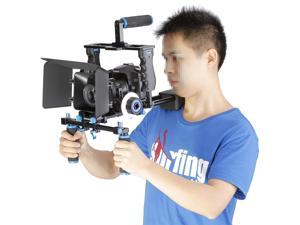 Neewer® Aluminum Film Movie Kit System Rig for Canon/Nikon/Pentax/Sony and other DSLR Cameras,includes:(1)Video Cage+(1)Top Handle Grip+(2)15mm Rod+(1)Matte Box+(1)Follow Focus+(1)Shoulder Rig