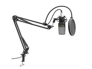 "Neewer® NB-35 Adjustable 27.5""/70cm Studio Recording Microphone Suspension Boom Scissor Arm Stand with Microphone Clip + Table Mounting Clamp + Power Cable"