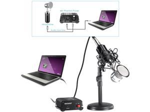 "Neewer® NW-1500 Microphone Kit: (1)Microphone with Iron Desk Stand, Shock Mount and Pop Filter+(1)48V Phantom Power Supply with Adapter+(1)Audio Input Cable+(1)Mic Cable 1/4"" Male to XLR Female"