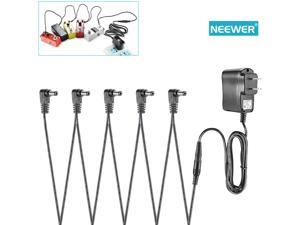 Neewer® Effect Pedal Power Adapter Supply 9V 500mA Tip Negative Design with 5 Way Right-Angle Daisy Chain Cables