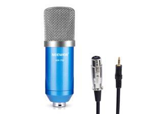 Neewer® NW-700 Professional Studio Broadcasting & Recording Condenser Microphone Set Including: (1)NW-700 Condenser Microphone + (1)Ball-type Anti-wind Foam Cap + (1)Microphone Audio Cable (Blue)