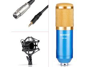 Neewer® NW-800 Studio Broadcasting & Recording Microphone Set Including (1)NW-800 Professional Condenser Microphone + (1)Microphone Shock Mount +(1)Ball-type Anti-wind Foam Cap +(1) Power Cable (Blue)