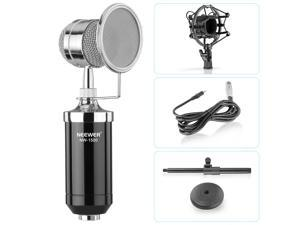Neewer® (1)NW-1500 Professional Desktop Broadcast & Recording Condenser Microphone with Audio Cable+(1)NW-02 Iron Desktop 12-19cm Mic Stand+(1)Metal Shock Mount+(1)Mic Wind Screen Filter Shied(Black)