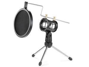 "Neewer® Microphone Pop Filter with Double-Net Shield + 4""/11cm Foldable Desktop Tripod + Shock Mount Mic Holder for Broadcasting and Recording Cellphone/USB Computer Microphone --Black"