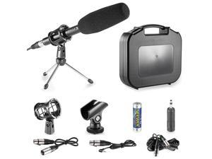 Neewer® Professional DSLR Microphone Kit for Canon EOS DSLR 5D Mark II III 6D 7D 7D II 70D 60D T6s T6i T5i T4i T3i SL1 Cameras, Aluminium Alloy Condenser Microphone with Accessories - Black