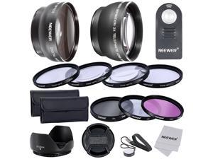 Neewer 52MM Lens&Filter with IR Wireless Remote Control Kit for NIKON: (1)Wide Angle Lens+(1)Telephoto Lens+(1)Filters(UV/CPL/FLD)+(1)Macro Close-Up Set+(1)Remote Control Replacement for ML-L3