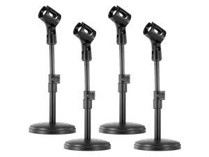 """Neewer® 4-Pack NW-(PC-02) Black Height Adjustable (9.45""""-12.2"""" / 24cm-31cm) Iron Base Desktop Microphone Stands with Microphone Clip Holder"""