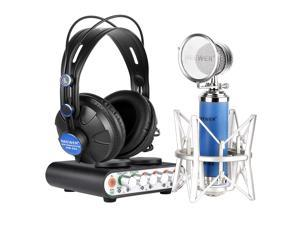 Neewer® NW-2S Sound Card and NW-88 Microphone kit for Karaoke,Personal Recording or more,includes:(1)NW-2S Sound Card+(1)NW-88 Microphone+(1)NW-680 Headphone+(1)USB Cable+(1)Microphone Cable