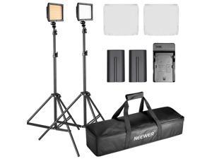 Neewer® 5500K Dimmable LED Video Light Kit for Photo Video Shooting, includes:(2)VL-180 LED Light+(2)6ft/190cm Light Stand+(2)Battery+(1)Charger+(2)Diffuser+(2)Filter+(1)Carrying Case