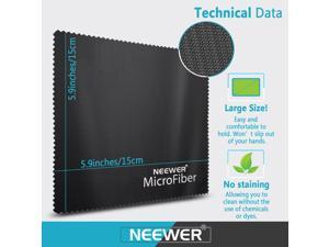 "Neewer® 2-Piece 6 x 6""/15 x 15cm Gentle Microfiber Cleaning Cloth for Camera Lens, LED Screens, Tablets, Smartphones and Other Delicate Surfaces, (1)Black + (1)Gray"