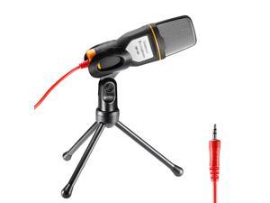 Neewer® Professional Condenser Sound Podcast Studio Microphone with 3.5mm Audio Cable and Mini Tripod Stand for PC Laptop Computer Apple Mac Upgraded Version, Black