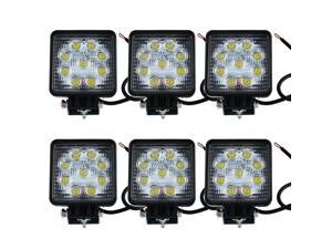 IMAX® 27W 1890 LM LED 60 Degree Flood Lamp for Working / Driving, Off Road Flood light-Jeep,Boat, SUV, Truck, Car, ATVs Fishing Driving Light Waterproof Square Car Lamp (6PCS, Flood/Square)