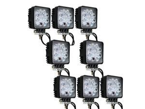 IMAX® 27W 1890 LM LED 60 Degree Flood Lamp for Working / Driving, Off Road Flood light-Jeep,Boat, SUV, Truck, Car, ATVs Fishing Driving Light Waterproof Square Car Lamp (8PCS, Flood/Square)