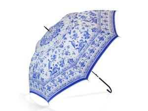 Media Sphere 2 in 1 Qin Dynasty Inspired Oriental Blue Underglaze Chinese Poreclain Auto Stick Parasol Umbrella