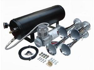 """Viking Horns"" V101C-3/4008 Loud 149 Decibels Train Air Horn Kit, Includes 1.5 Gallon Tank, 150 PSI Heavy Duty Air Compressor and a 4 Trumpet Air Horn"