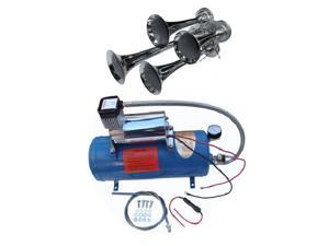 """Viking Horns"" V3305/4008 Loud 149 Decibels Train Air Horn Kit, Includes 1.5 Gallon Tank, 150 PSI Heavy Duty Air Compressor and a 4 Trumpet Air Horn"
