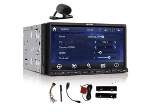Rear Camera+In dash 7'' HD GPS Navigation Two 2DIN Car Stereo DVD CD Video Player Car Radio Audio MP3 Bluetooth iPod Touchscreen