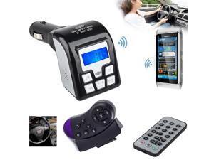 New Bluetooth Car MP3 Player Wireless FM Transmitter Modulator USB SD MMC Black FM Modulator+Steering Wheel Controller