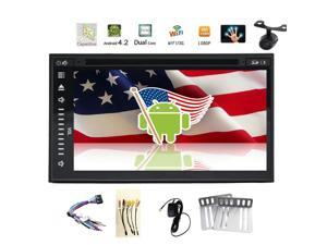 Camera+Android 4.4 7'' Car GPS Navigation DVD CD Video Player 2 din Capacitive full-touchscreen Car Stereo RDS Radio+Bluetooth+WiFi