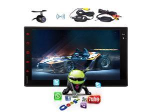 New Universal Pupug 7 Inch Android 4.4 Car NON-DVD Player 2 Din Car Stereo GPS Car Tablet Input Radio FM AM RDS Bluetooth Car PC SD USB No-TV Capacitive Multi Touch Screen with wireless camera