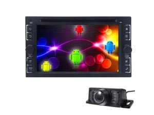 Rear Camera + 6.2 inch 2 Din Android 4.4.4 In Dash Headunit Car DVD Player FM/AM Radio GPS Navi Navigation System Car Stereo Bluetooth WIFI Capactive Touch Screen