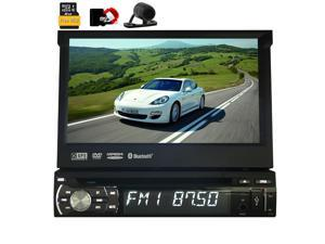 "Rear Camera include! 7"" Touch Screen Autoradio Bluetooth Car GPS Navigation 8GB map card DVD CD Player One din Car Stereo USB SD IPOD FM AM car gps map Steering Wheel Control Car Radio"